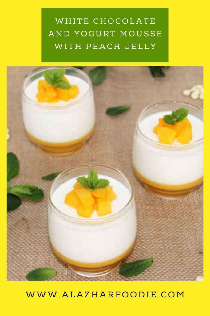 White chocolate and yogurt mousse with peach jelly